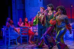 Kara Mikula, Lyn Philistine, Carla Woods in a scene from Mamma Mia