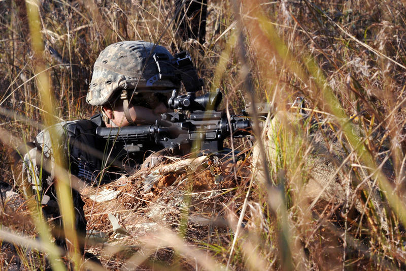 A U.S. Soldier monitors for movement during Talisman Sabre 15 at the Shoalwater Bay Training Area, Australia, July 18, 2015.
