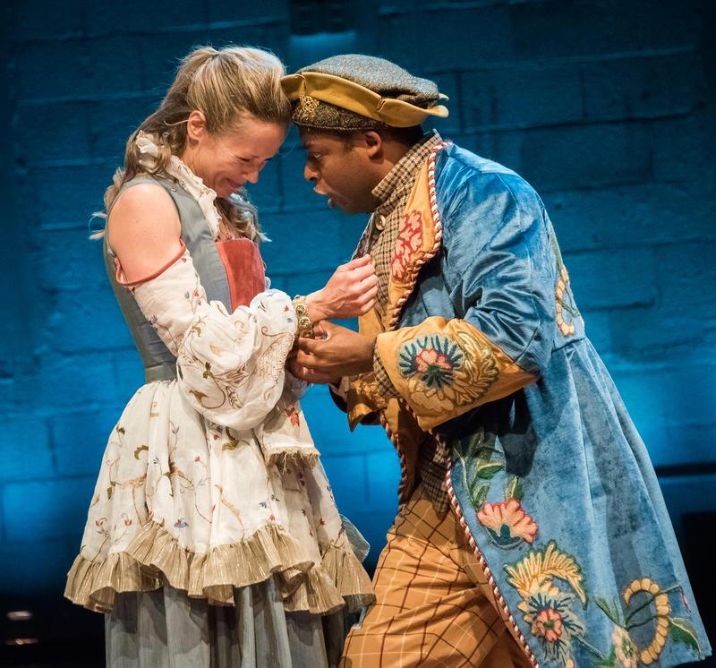 Tamara Hickey and Thomas Brazzle in Cymbeline at Shakespeare & Company