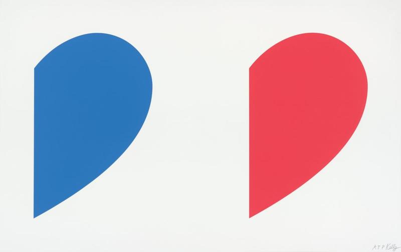 Ellsworth Kelly, American, 1923-2015, Blue Curve/Red Curve, 2014, lithograph, edition RTP, 30 x 47 3/8 in., Collections of Jordan D. Schnitzer, 2015.507, © Ellsworth Kelly and Gemini G.E.L., Los Angeles.