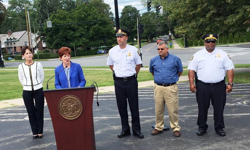 St. Peter's Hospital CEO Virginia Golden, Albany Mayor Kathy Sheehan, Acting Police Chief Bob Sears and other officials at Bethany Reformed Church, August 2017.