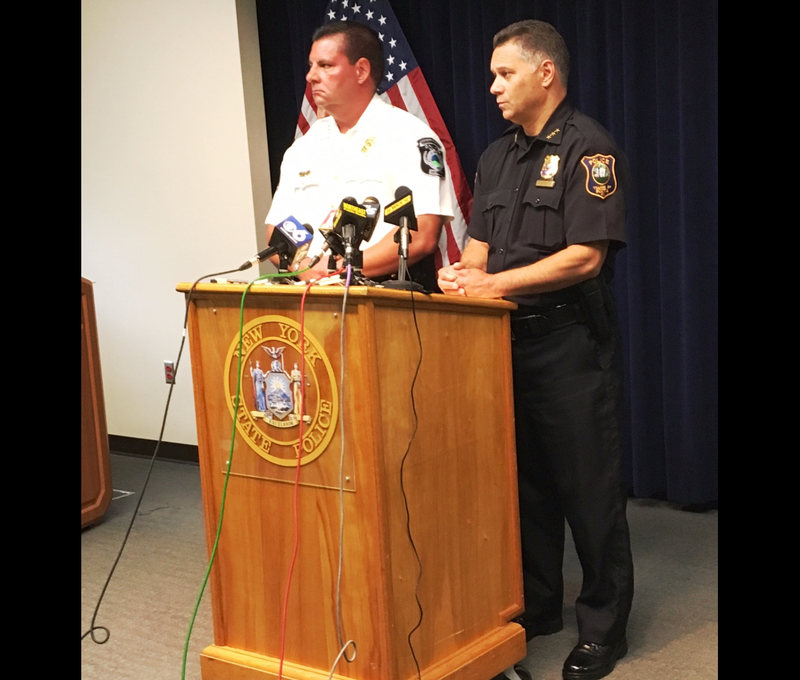 Glenville Police Chief Steve Janik & Scotia Police Chief Pete Frisoni speak with reporters at State Police Troop G HQ