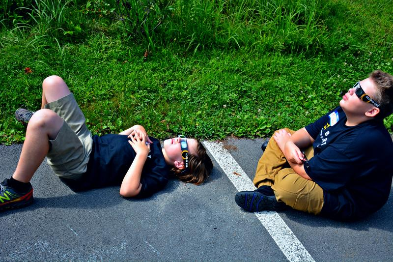 Sixth grader Emmett Krantz, from Pittsfield, laid on the ground staring into the sky, jaw dropped.