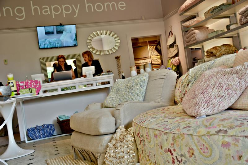 The storefront sells furniture, bedding, jewelry, storage and décor.