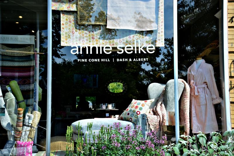 The storefront of Annie Selke's new retail shop in Lenox.