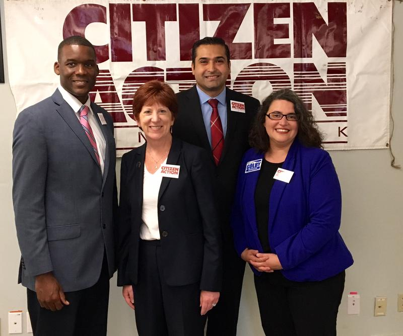 Corey Ellis, Albany Mayor Kathy Sheehan, Alfredo Balarin and Leah Golby