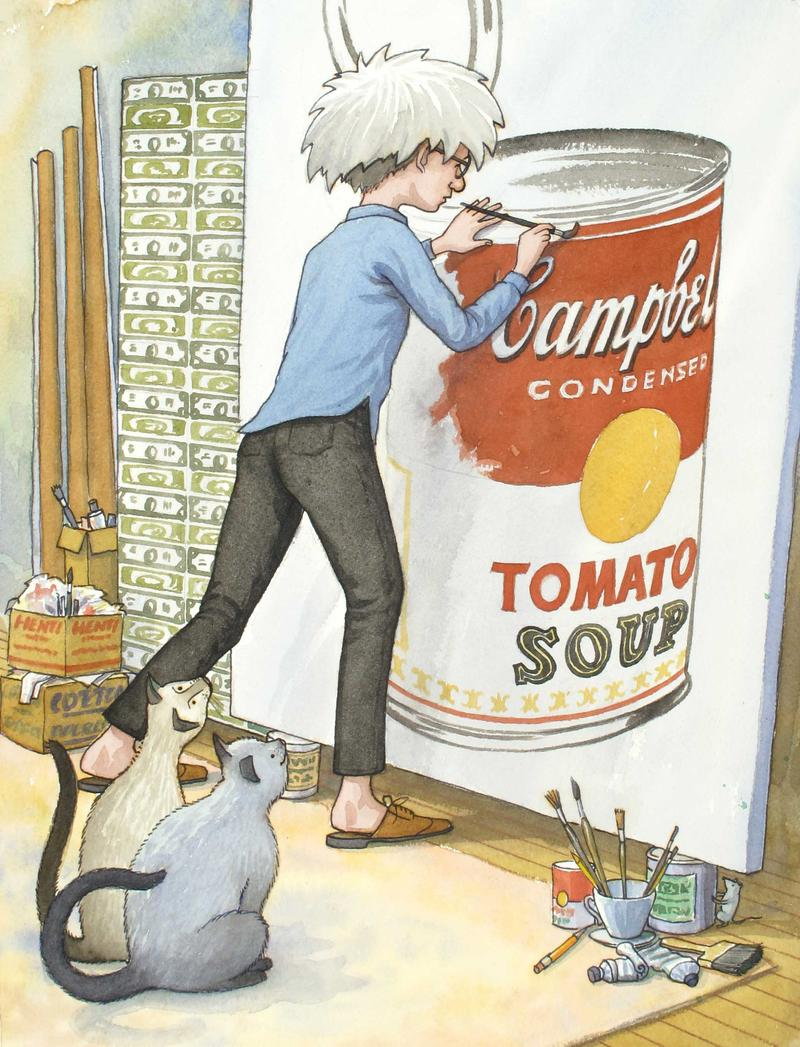 Uncle Andy Paints a Soup Can 2003 Illustration for Uncle Andy's: A Faabbbulous Visit with Andy Warhol by James Warhola, Picture Puffin Books Watercolor and pencil on paper Collection of the artist