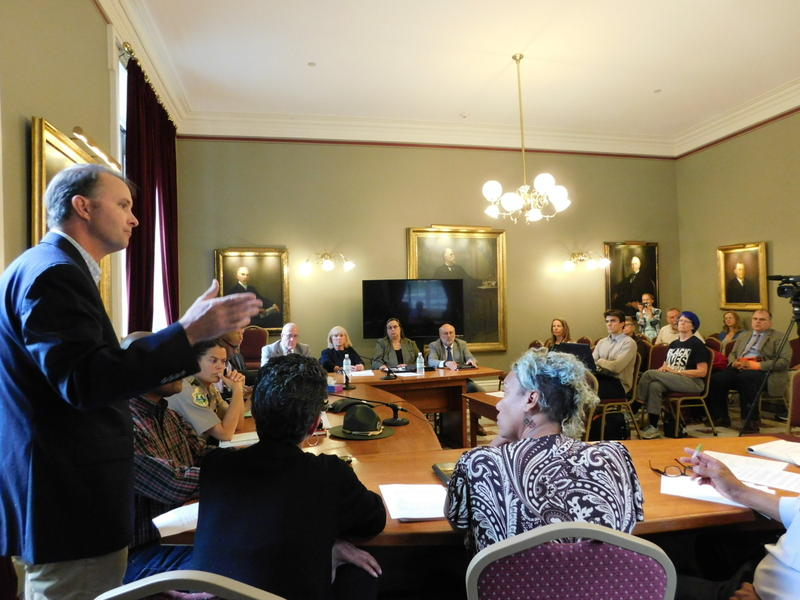 Vermont Attorney General T.J. Donovan (far left, standing) talks to the Racial Disparities in the Criminal and Juvenile Justice System Advisory Panel