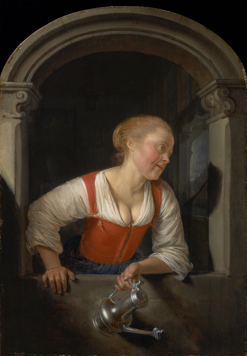 GIRL AT A WINDOW c.1655 Oil on panel 10 9/16 x 7 1/2 in. (26.9 x 19 cm)  Acquired by Sterling and Francine Clark before 1955 1955.716