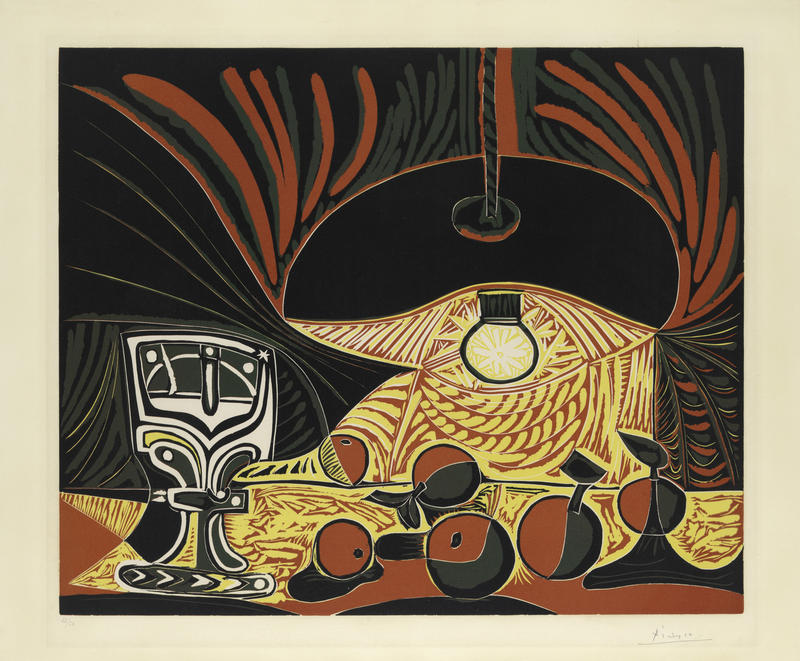 Still Life with Glass Under the Lamp, 1962. Linoleum cut on paper, sheet: 24 1/2 x 29 5/8 in. The Metropolitan Museum of Art, New York. The Mr. and Mrs. Charles Kramer Collection, Gift of Mr. and Mrs. Charles Kramer, 1979, 1979.620.90