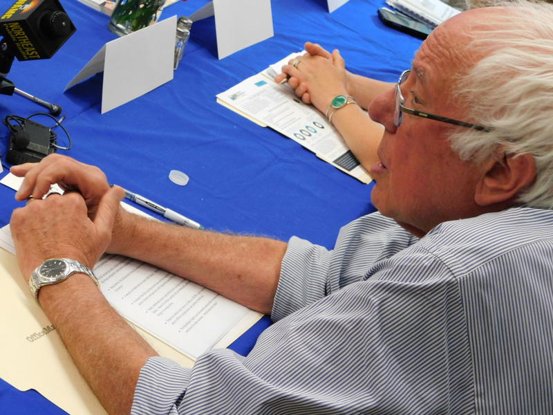 U.S. Senator Bernie Sanders listens to comments at the Franklin County Senior Center