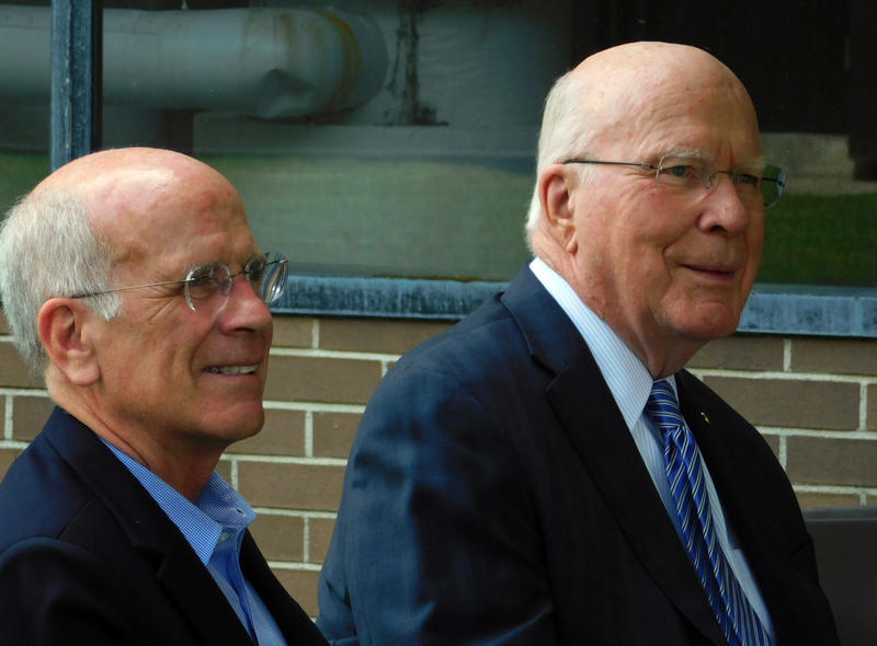 Congressman Peter Welch (left) and Senator Patrick Leahy at GlobalFoundries celebration