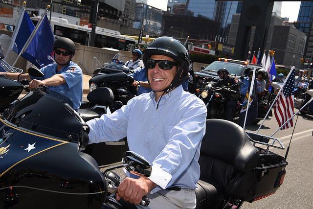 Gov. Cuomo riding a motorbike