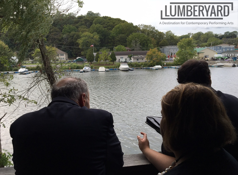 U.S. Senate Minority Leader Charles E. Schumer looks out on the Catskill Creek on the Lumberyard Contemporary Performing Arts Center site.