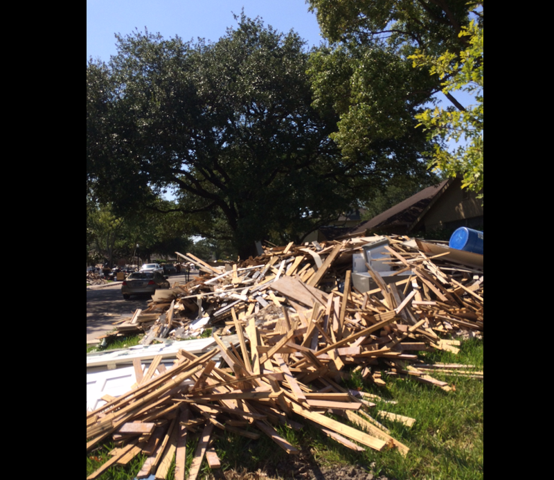 A pile of debris along a street in Houston.