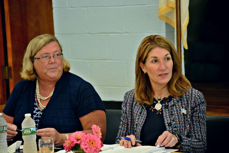 Deputy Secretary of Housing and Economic Development Carolyn Kirk and Lieutenant Governor Karyn Polito during a roundtable in Washington.