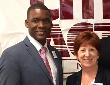 Corey Ellis with Albany Mayor Kathy Sheehan