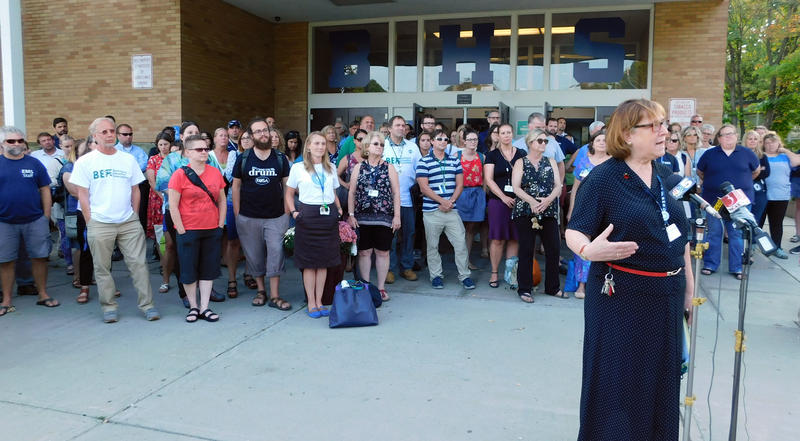 Burlington Education Association (BEA) President Fran Brock announces contract ratification by teachers.