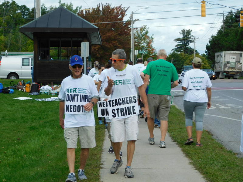 Burlington high school teachers on the picket line