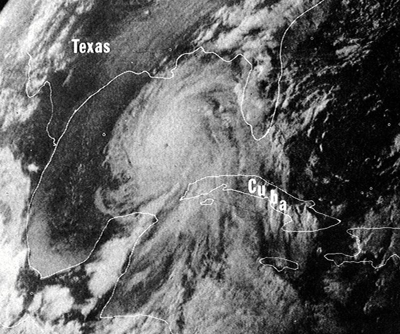 An image of Hurricane Camille in 1969