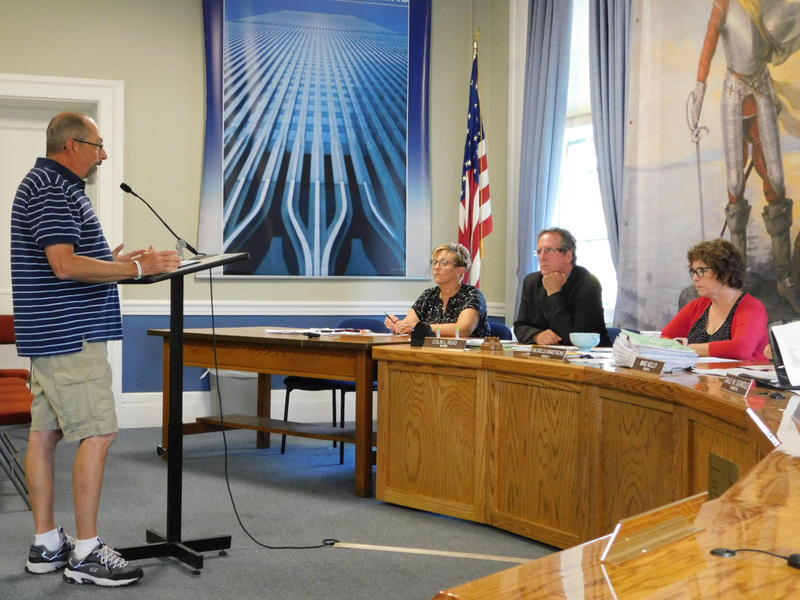 Plattsburgh resident Jeff Moore talks to city council about tax cap