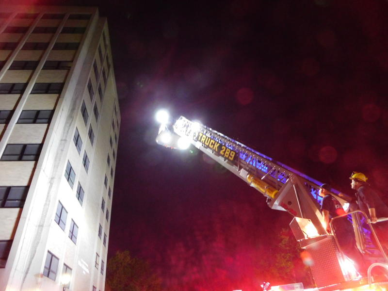 Plattsburgh Fire Department conducts night ladder truck training