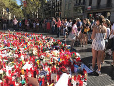 A memorial to victims of August's terrorist attack in Barcelona