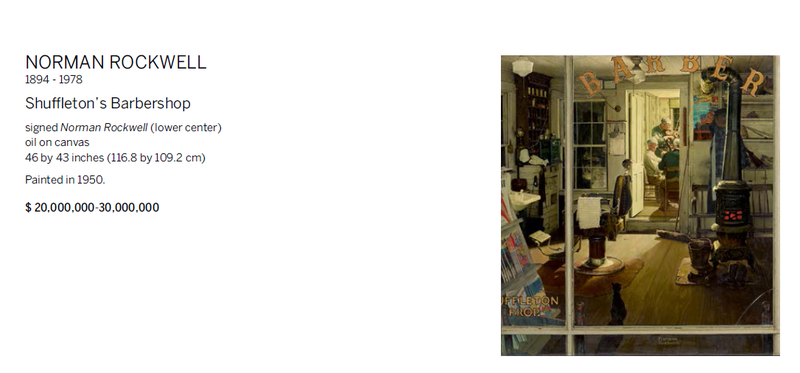 """Norman Rockwell's """"Shuffleton's Barbershop"""" listed in a Sotheby's estimates catalog ."""