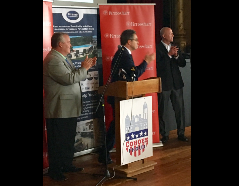 "Flaunting ""Cohoes Proud"" at the Cohoes Music Hall: Mayor Shawn Morse, Dean of RPI School of Architecture Evan Douglis and Vice President of Prime Companies, Todd Curley."