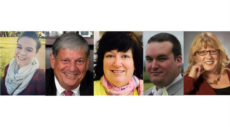 The Democratic candidates for 1st Berkshire District before the primary election, from left to right, are Stephanie Bosley, John Barrett, Kevin Towle, and Lisa Blackmer. The only Republican candidate is Christine Canning, centered.
