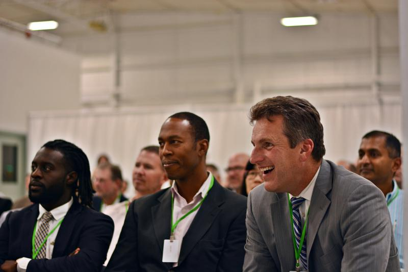 Massachusetts Secretary of Housing and Economic Development Jay Ash, Massachusetts Life Sciences Center CEO Travis McCready, and AJ Enchill, legislative aide for state Senator Adam Hinds, at Thursday's presentation at Berkshire Sterile Manufacturing, Lee.