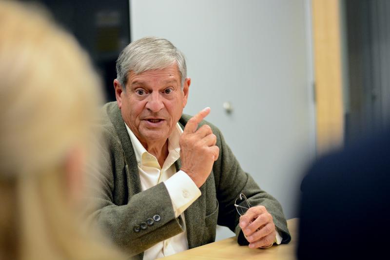 Democrat John Barrett speaks to College Republicans at the Massachusetts College of Liberal Arts, highlighting his bipartisan work.