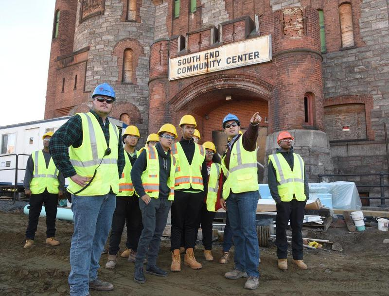 The facade of the former National Guard Armory on Howard Street that housed the South End Community Center for decades, is being incorporated into the MGM casino complex.