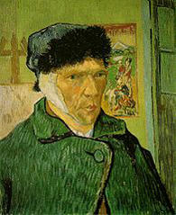 A self-portrait by Vincent van Gogh with a bandaged ear.