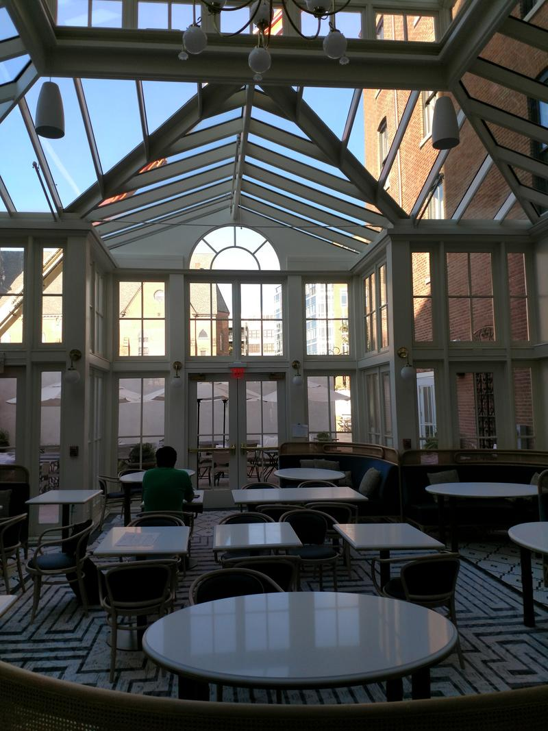 The conservatory area of the Blue Hen restaurant at the Adelphi Hotel