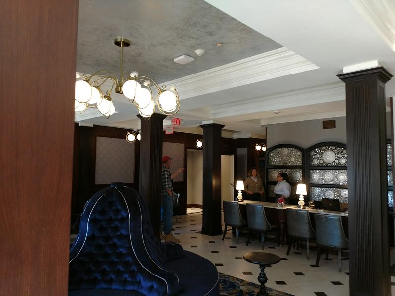 The lobby of the Adelphi Hotel