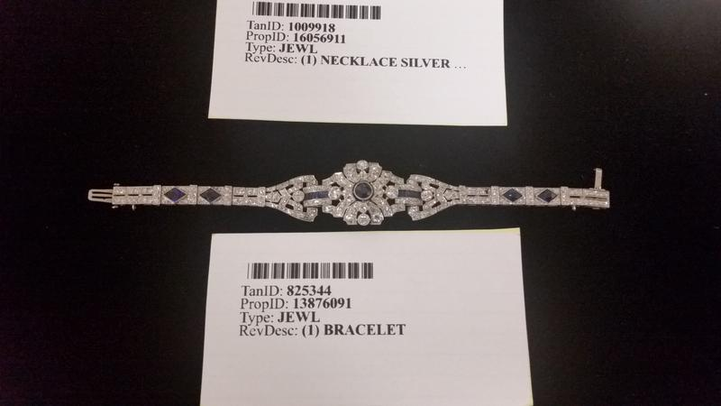 This bracelet made from platinum, sapphire, and diamonds is apprased at $17,000, making it the most expensive single item in the auction