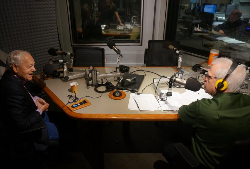 Bob Schieffer and Brian Shields Friday at WAMC's studios.