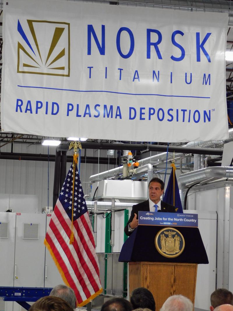 Governor Andrew Cuomo at Norsk Titanium in Plattsburgh