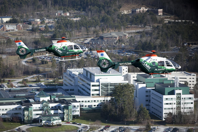 "Dartmouth-Hitchcock Advanced Response Team ""DHART"" flies over the Dartmouth-Hitchcock Medical Center"
