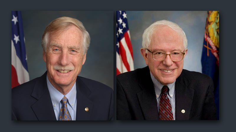 Senator Angus King (left) and Senator Bernie Sanders