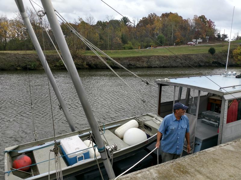 Riverkeeper Patrol Boat Captain John Lipscomb on the Mohawk River in Waterford, NY