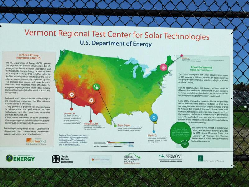 Solar test site information sign