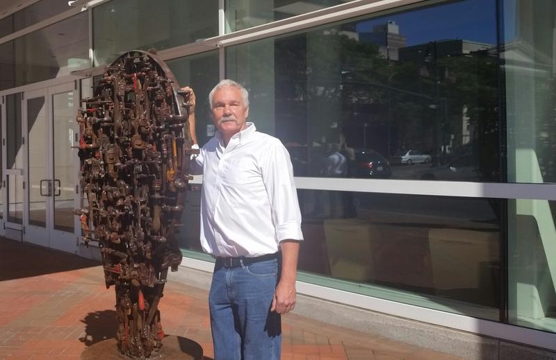 James Kitchen with his pipe wrench sculpture