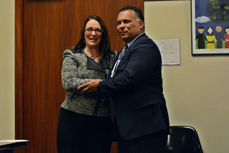 Mayor Linda Tyer congratulates newly appointed Police Chief Michael Wynn at the city council meeting.