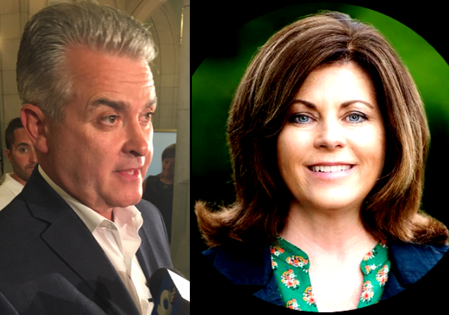 Republican Steve McLaughlin, Democrat Andrea Smyth, candidates for Rensselaer County Executive