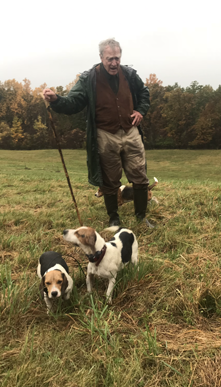 Master Beagler Jack Kingsley and several canine members of the Old Chatham Hunt Club