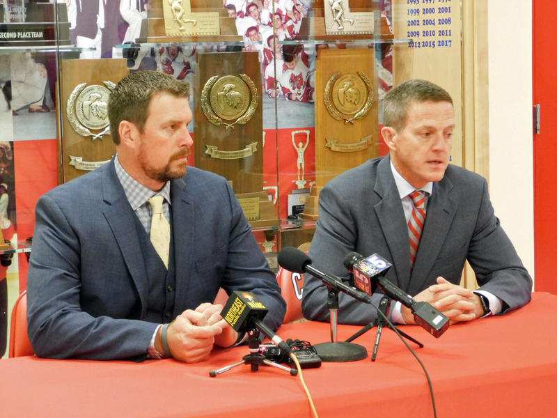 Ryan Leaf (left) and Clinton County District Attorney Andrew Wylie (right) speak to reporters before the public event