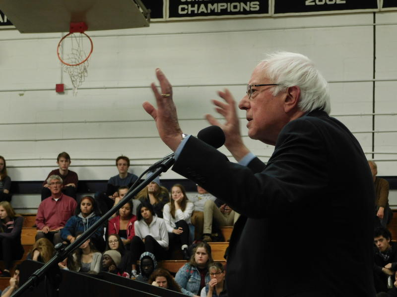 Senator Bernie Sanders holds student meeting on opioids and addiction at Burlington High School