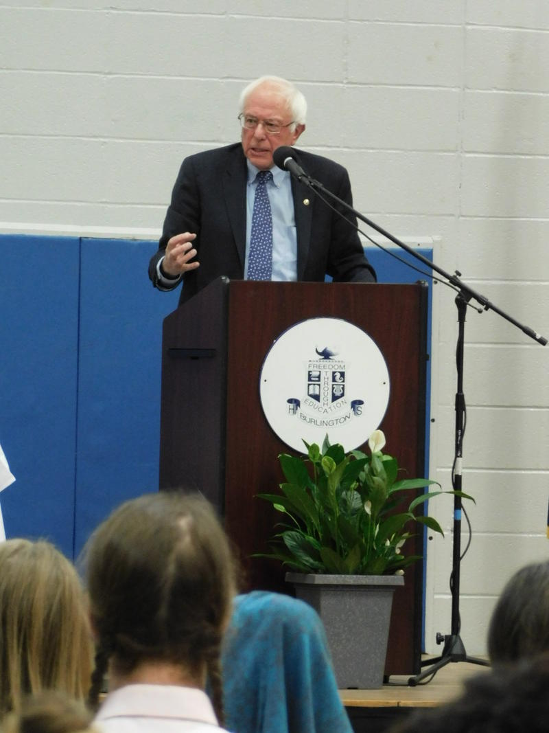 Senator Bernie Sanders at Burlington High School student opioid forum